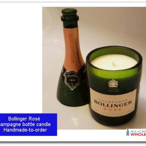 Personalised Bollinger Rose Label Champagne Bottle Candle with Topper