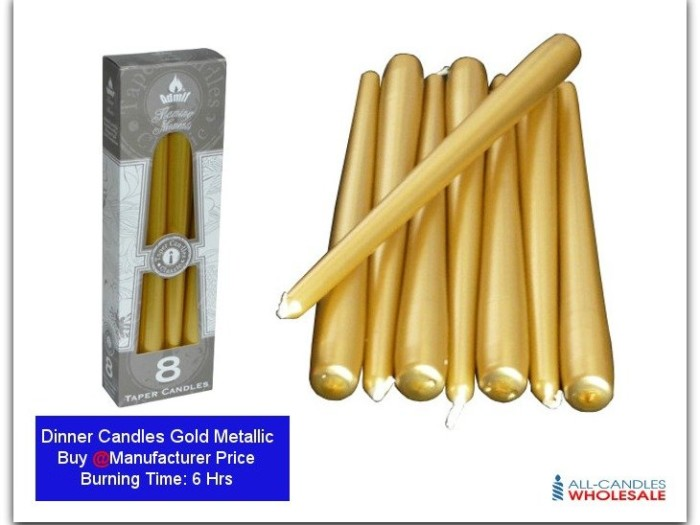 Dinner Candles-featured-Gold Mattalic