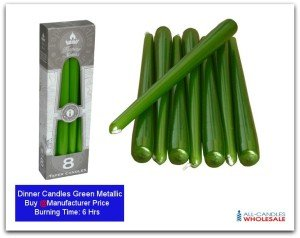 Dinner Candles-featured-Green Mattalic