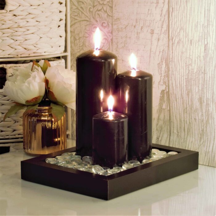 candle decoration, black candles, black pillar candles, candles uk,