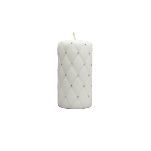 Hand-decorated Pillar Candle White