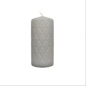Hand-decorated Pillar Candle Grey