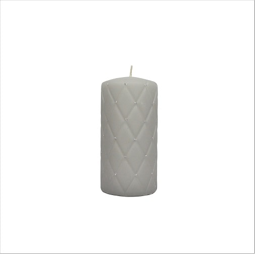 Hand-decorated Pillar Candle Grey