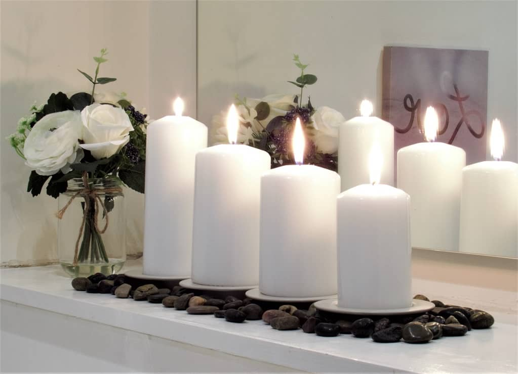 White Pillar candles, Candle decoration,